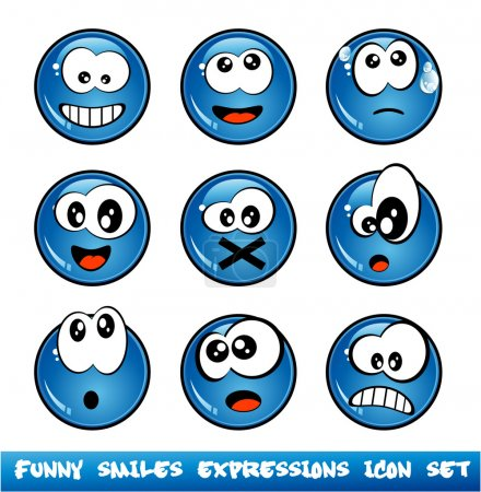 Illustration for Colorful Set of Funny Smiles with different expressions - Royalty Free Image