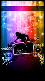 Disco Event Poster with a Disk Jockey remixing two disks with a waterfall of glitters lghts on the back and space for your music text and details