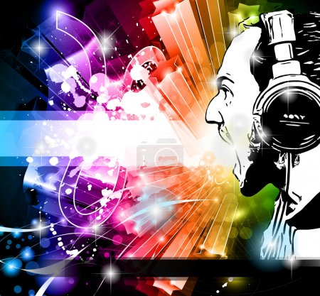 Disco Event Background with Disk Jockey