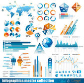 Premium infographics master collection: graphs histograms arrows chart 3D globe icons and a lot of related design elements