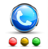 Phone Call Cristal Glossy Button