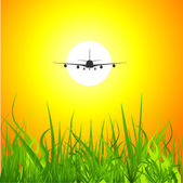 Airplane sunset background