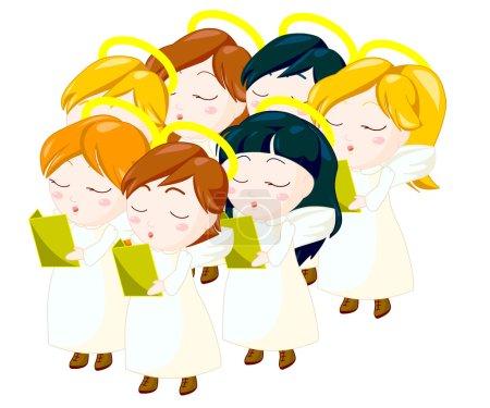 Photo pour Enfants d'anges chantant. tracé de détourage inclus. - image libre de droit