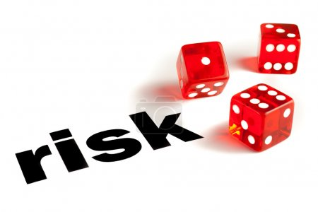 Photo for Close up of transparent dice on word risk - Royalty Free Image