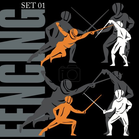 Fencing Silhouettes Set