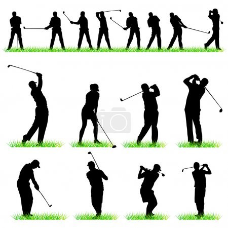 16 Golf players silhouettes set