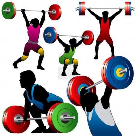 Illustration pour Set de 5 silhouettes d'athlètes poids lourd - image libre de droit