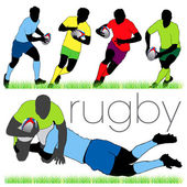 6 Rugby Players Silhouettes Set
