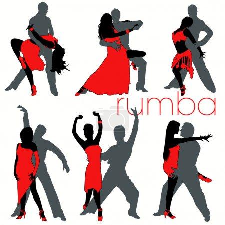 12 Rumba Dancers Silhouettes Set