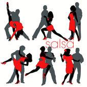 Sada 12 salsa tanečnice siluety