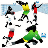 5 Volleyball Players Silhouettes Set