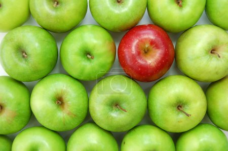 Photo for Red apple amongst many green ones - Royalty Free Image