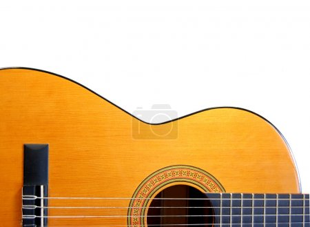 Photo for Handmade acoustic guitar instrument against white - Royalty Free Image