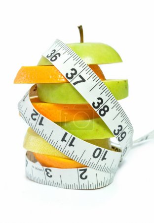 Tape measure and fruit