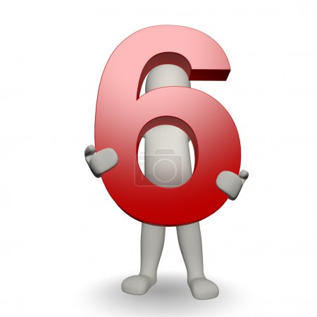 3D Human charcter holding number six