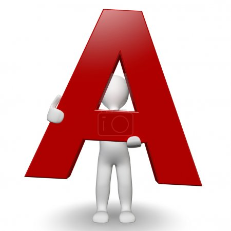 3D Human charcter holding red letter A