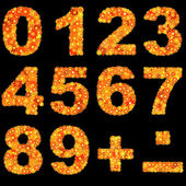 Digits made of red and yellow flowers