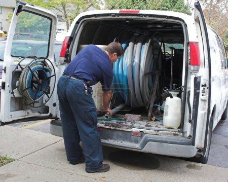 Photo pour Tapis tech nettoyage prépare l'équipement - image libre de droit