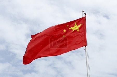 Photo pour Drapeau chinois sur le mât - image libre de droit