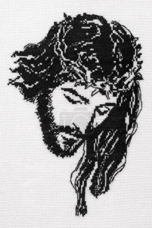 Photo for Jesus Christ cross stitch. Cross-stitch hand made by me, don't need license and release. - Royalty Free Image
