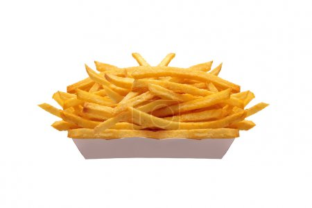 French fries in white box isolated on white...