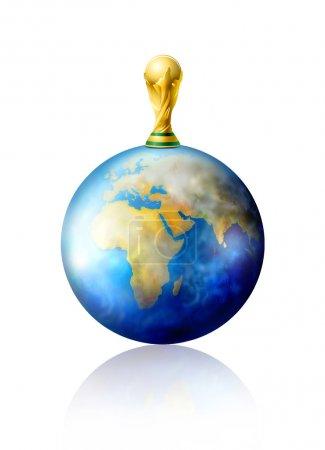 Photo pour World cup soccer trophée et planète Terre - image libre de droit