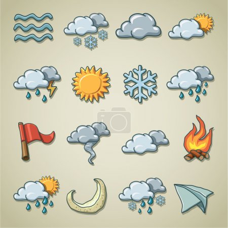 Illustration for Colorful and artistic vector icon set - Royalty Free Image