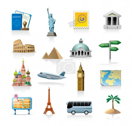 Photo for Travel related vector icon set isolated on white - Royalty Free Image