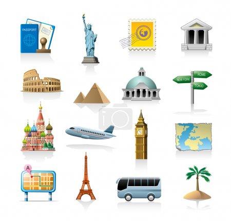 Photo pour Ensemble d'icônes vectorielles liées au voyage isolé sur blanc - image libre de droit