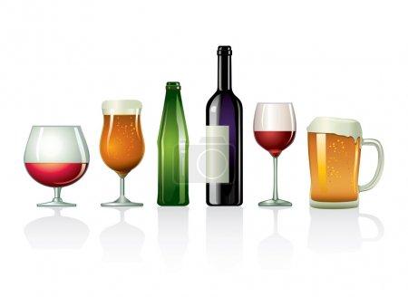 Illustration pour Un ensemble illustré de cocktails fantaisie isolés sur du blanc . - image libre de droit