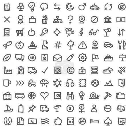 Illustration pour Collection vectorielle de diverses icônes isolées sur blanc - image libre de droit