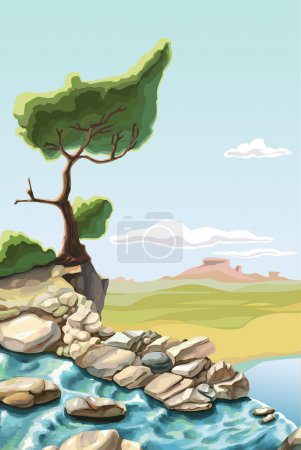 Illustration for The waterfall and the lonley green tree on the brink of a precipice. - Royalty Free Image