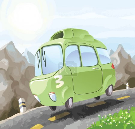 Illustration for A small retro-styled car having a dangerous trip on the mountain road. - Royalty Free Image