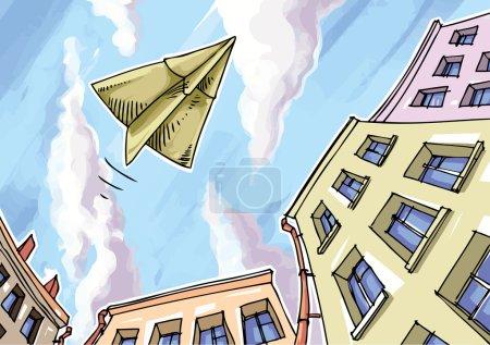 Illustration pour L'avion en papier survole la ville . - image libre de droit