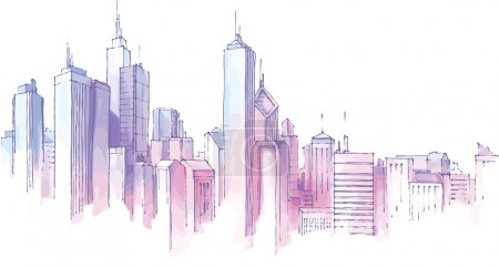 Photo for The hand-drown city skyline in a pastel shades. - Royalty Free Image