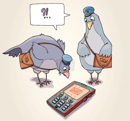 Illustration for Two carrier pigeons are wonder to receive the SMS. - Royalty Free Image