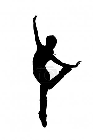 Street dancer silhouette on white background