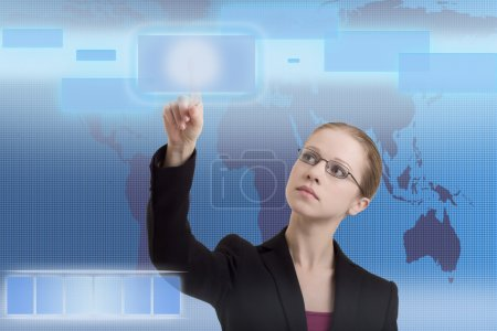 Future business solutions business woman operating interface