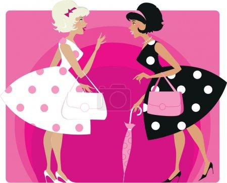 Illustration for Vector illustraion of two stylish retro girls talking - Royalty Free Image