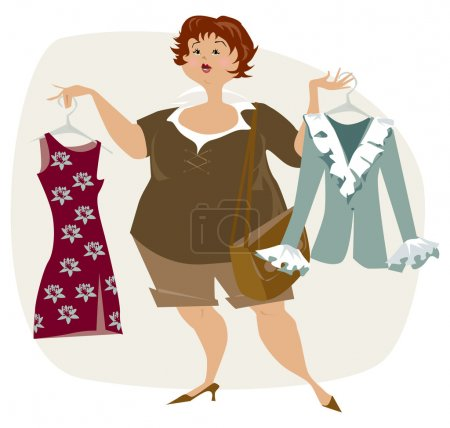 Illustration for Pretty plus size lady is looking for dress - Royalty Free Image