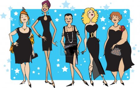 Illustration for Five ladies in black dresses - Royalty Free Image