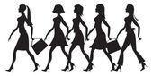 5 girls silhouette