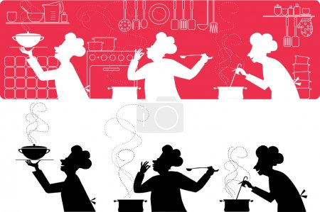 Illustration for Vector silhouettes of three cooks working in the kitchen - Royalty Free Image