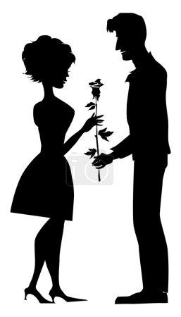 Illustration pour Silhouette de couple, l'homme donne une rose à sa petite amie - image libre de droit