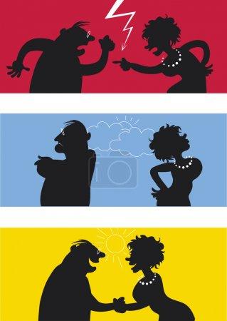 Cartoon of fighting couple, weather icons symbolis...