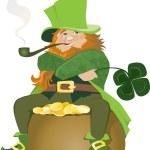 Illustration of Leprenauch sitting on golden pot o...