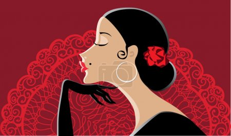 Illustration for Vector illustration of a beautiful spanish lady, fan in the background - Royalty Free Image