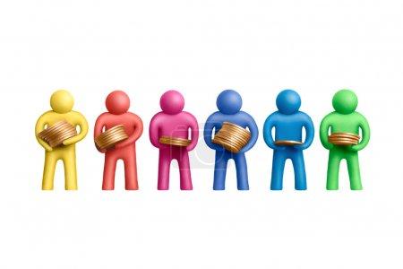 Photo pour Multicolore plasticine figures humaines avec une pile de pièces de monnaie - image libre de droit
