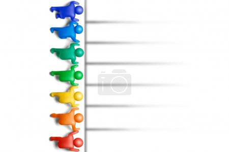 Photo for Multicolored plasticine human figures on a starting line - Royalty Free Image