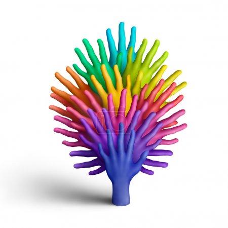 Photo pour L'arbre fait des mains de la pâte à modeler multicolores sur fond blanc - image libre de droit
